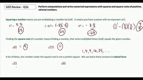 GED Study Guide Math | Squares and Square Roots - YouTube