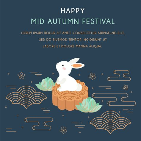 Mid autumn festival with Rabbit and Abstract Elements
