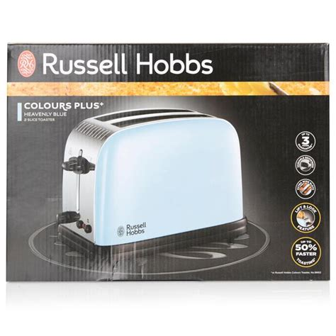 Russell Hobbs Colours Plus 2 Slice Toaster, Heavenly Blue