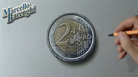 Drawing time lapse: 2 euro coin - hyperrealistic art - YouTube