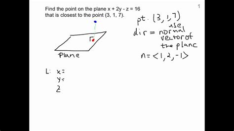 Finding point on plane that is closest to another point