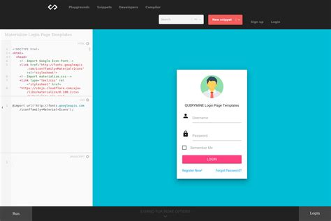 Materialize Login Page Templates - Codepad