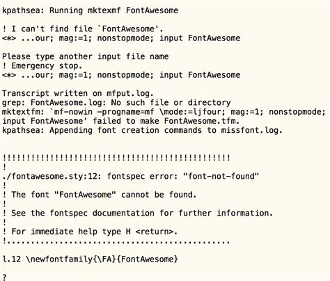 """xetex - The font """"FontAwesome"""" cannot be found - TeX"""