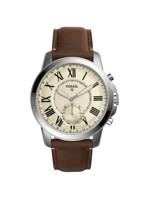 Fossil Q FTW1118 Men's Grant Chronograph Leather Strap