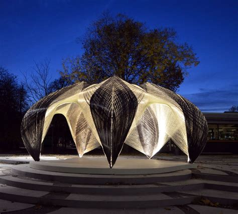 robotically fabricated carbon and glass fibre pavilion by