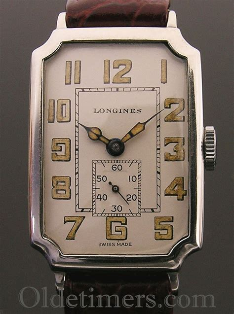 1930s silver tank style vintage Longines watch - Olde Timers